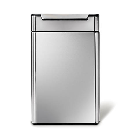 simplehuman Rectangular Touch-Bar Trash Can, Dual Compartment, 12.7 Gallons, Brushed Stainless Steel