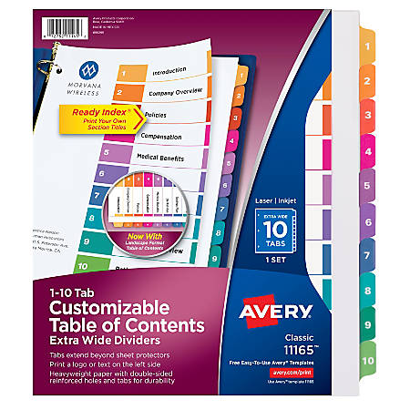 Avery® Ready Index® 20% Recycled ExtraWide Table Of Contents Dividers, 1-10 Tabs, Multicolor