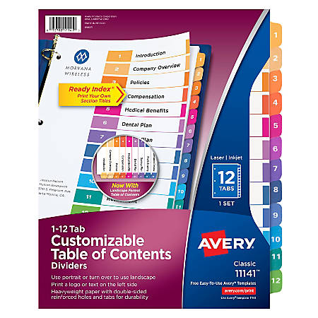Avery® Ready Index® 20% Recycled Table Of Contents Dividers, 1-12 Tab, Multicolor