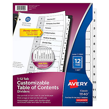 Avery® Ready Index® 20% Recycled Table Of Contents Dividers, 1-12 Item #  998120