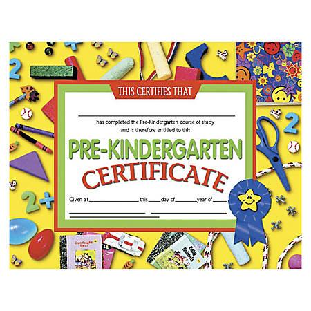 "Hayes Pre-Kindergarten Certificates, 8 1/2"" x 11"", Multicolor, 30 Certificates Per Pack, Bundle Of 6 Packs"