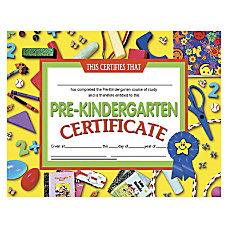 Hayes Pre Kindergarten Certificates 8 12