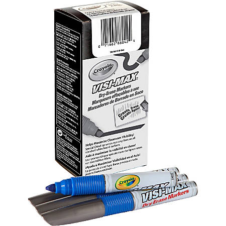 Crayola Visi-Max Dry-Erase Markers - Bold Marker Point - Chisel Marker Point Style - Blue - 1 Dozen