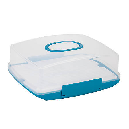 "Honey-Can-Do Rectangular Cake Carrier, 7 1/8""H x 14 3/8""W x 17 3/4""D, Blue/Clear"