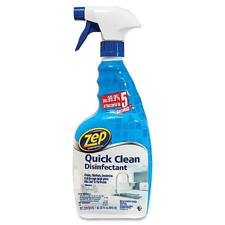 Zep Commercial Quick Clean Disinfectant - Spray - 0.25 gal (32 fl oz) - Bottle - 12 / Carton - Yellow