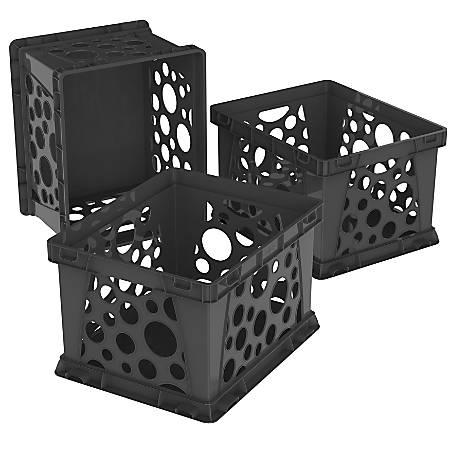 Storex Standard File Crate Black 3PK - Office Depot