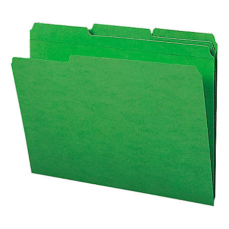 Smead® Color File Folders, With Reinforced Tabs, Letter Size, 1/3 Cut, Green, Box Of 100