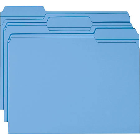 Smead® Color File Folders, With Reinforced Tabs, Letter Size, 1/3 Cut, Blue, Box Of 100