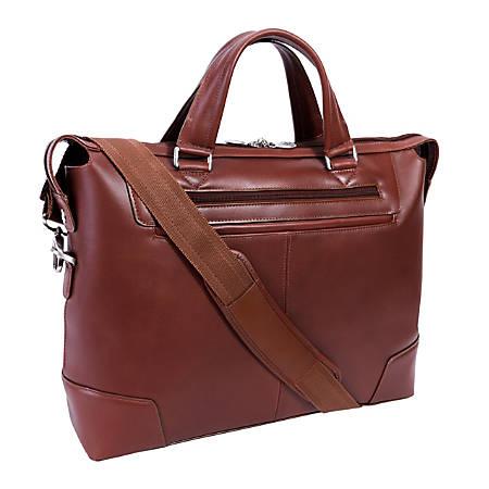 "McKlein R-Series Arcadia Slim Briefcase With 17"" Laptop Pocket, Brown"