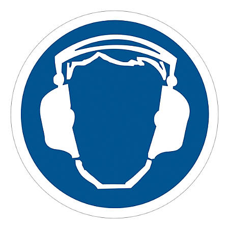 """Tape Logic Durable Circle Safety Labels, DSL510, 2"""", Wear Ear Protection, Roll Of 25 Labels"""