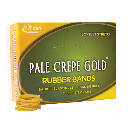 """Alliance® Pale Crepe Gold® Rubber Bands In 1/4-Lb Box, #12, 1 3/4"""" x 1/16"""", Box Of 963"""