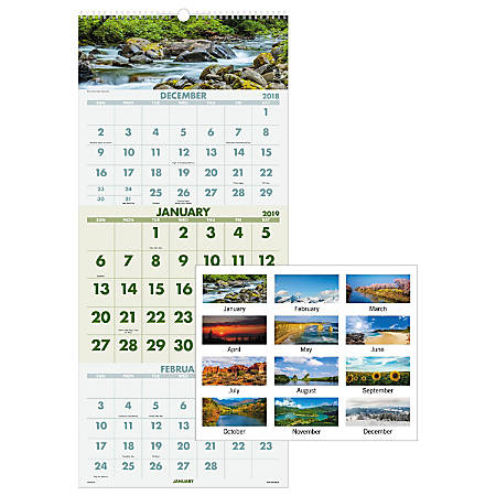 "AT-A-GLANCE® Scenic 3-Month 14-Month Wall Calendar, 12"" x 27"", December 2018 to January 2020"