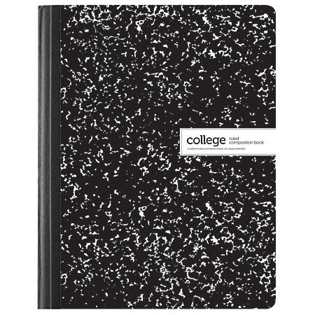 """Office Depot® Brand Composition Book, Marble, 7 1/2"""" x 9 3/4"""", College Ruled, 100 Sheets, Black/White"""