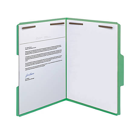 Smead® Color Reinforced Tab Fastener Folders, Letter Size, 1/3 Cut, Green, Pack Of 50