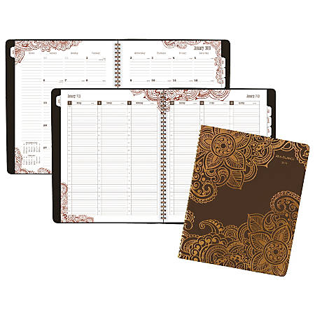 "AT-A-GLANCE® Henna Premium 13-Month Weekly/Monthly Appointment Book/Planner, 8 1/2"" x 11"", Brown, January 2019 To January 2020"