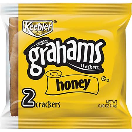 Keebler Grahams Honey Crackers - Individually Wrapped - Honey - 0.49 oz - 200 / Carton
