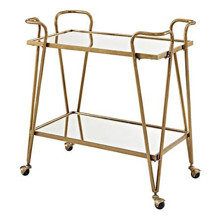 "Linon April 2-Shelf Iron Bar Cart, 31-3/4""H x 30""W x 30""D, Gold"