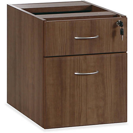 "Lorell® Essentials Series 22""D 2-Drawer Fixed Pedestal File Cabinet, Box/File, Walnut"