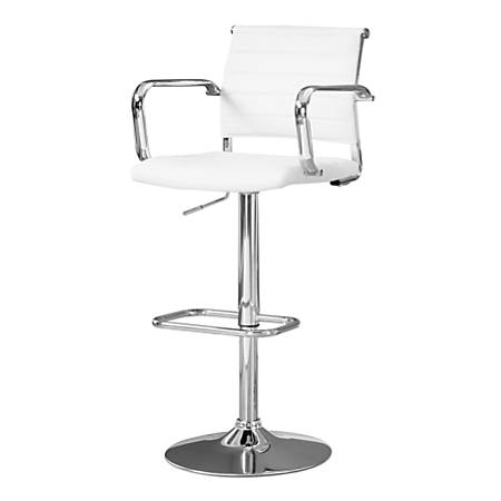 Monarch Specialties Hydraulic-Lift Bar Stools, White/Chrome, Pack Of 2 Stools
