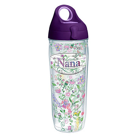 Tervis Hallmark Nana Floral Water Bottle With Lid, 24 Oz, Clear