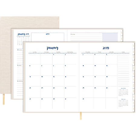 "Office Depot® Brand Material Girl Weekly/Monthly Planner, 8-1/2"" x 11"", Tan, January to December 2019"