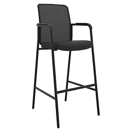 "HON Instigate Cafe-Height Stool - Fabric Seat - Steel Frame - Black - 20.5"" Width x 23.8"" Depth x 49.8"" Height"
