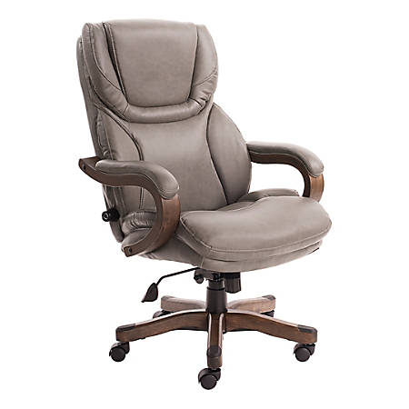 Serta Big And Tall Bonded Leather High-Back Office Chair With Upgraded Wood Accents, Mindset Gray/Espresso