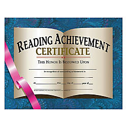 Hayes Reading Achievement Certificates 8 12