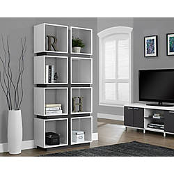 Monarch Specialties 8 Cube Bookcase WhiteGray