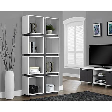 Monarch Specialties 8-Cube Bookcase, White/Gray