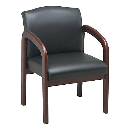 Lorell® Deluxe Bonded Leather Guest Chair, Black/Cherry Frame