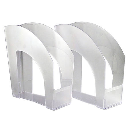 "Office Depot® Brand Arched Plastic Magazine Files, 8 1/2"" x 11"", Clear, Pack Of 4"