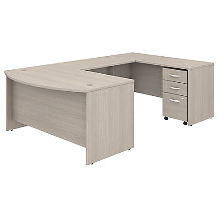 "Bush Business Furniture Studio C U-Shaped Desk With Mobile File Cabinet, 60""W x 36""D, Sand Oak, Standard Delivery"