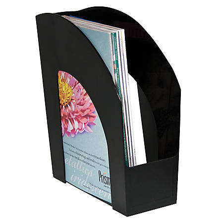 "Office Depot® Brand Arched Plastic Magazine File, 8 1/2"" x 11"", Black"