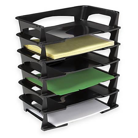 "Brenton Studio™ Stacking Desk Trays, 2 1/2""H x 15 1/4""W x 8 3/4""D, Black, Pack Of 6"