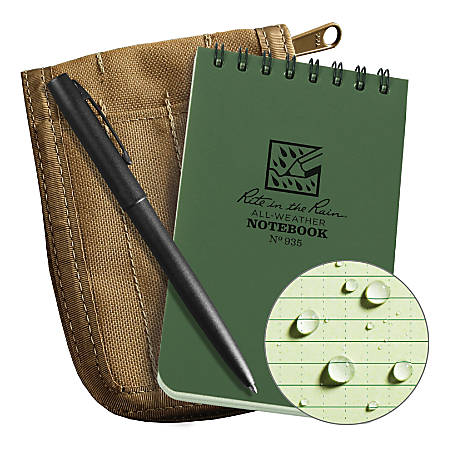 "Rite In The Rain® Pocket Top-Spiral Notebook Kit, 3"" x 5"", Green"