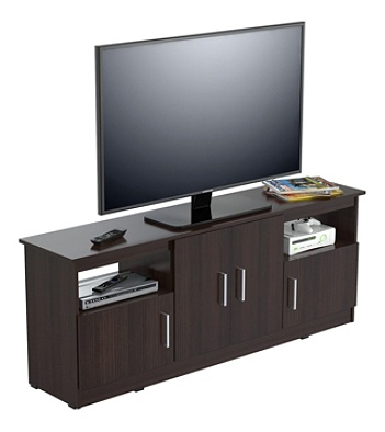 Inval Flat Screen Tv Stand For 60 Tvs 63 W Espresso Wengue By Office Depot Officemax