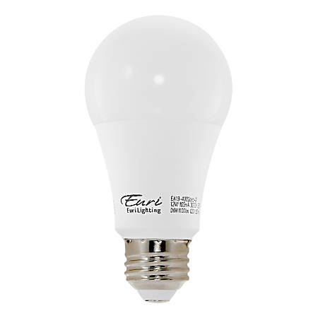 Euri A19 3000 Series LED Light Bulbs, Dimmable, 800 Lumens, 9 Watt, 6500K/Daylight, Pack Of 4 Bulbs