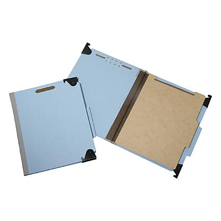 """SKILCRAFT® Hanging File Folders With 4-Section Fastener, 1"""" Capacity, Letter Size, 60% Recycled, Light Blue, Box Of 10 (AbilityOne 7530-01-372-3102)"""