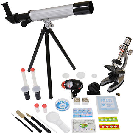 Edu-Toys® Microscope And Telescope Set With Survival Kit, Grade 3 - 12