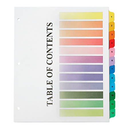 """SKILCRAFT® Numerical Tab Set, 8 1/2"""" x 11"""", 30% Recycled, Set Of 12, Assorted Colors (AbilityOne 7530-01-621-5258)"""