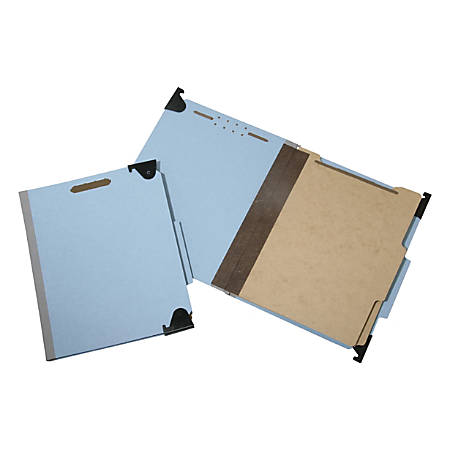 """SKILCRAFT® 6-Section Fastener Hanging File Folders, 2"""" Expansion, Letter Size, 60% Recycled, Light Blue, Box Of 10 (AbilityOne7530-01-621-6198)"""