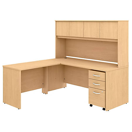 "Bush Business Furniture Studio C 72""W x 30""D L-Shaped Desk With Hutch, Mobile File Cabinet And 42""W Return, Natural Maple, Standard Delivery"