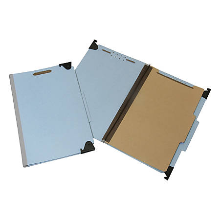 """SKILCRAFT® Heavy-Duty Hanging File Folders With 4-Section Fastener, 1"""" Capacity, Legal Size, 60% Recycled, Blue, Box Of 5 (AbilityOne 7530-01-621-6200)"""