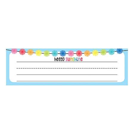"Schoolgirl Style Desk Nameplates, 9-1/2"" x 2-7/8"", Hello Sunshine, Pack Of 36 Nameplates"