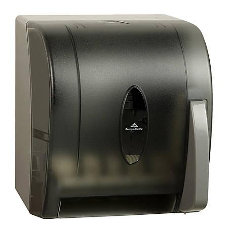 "GP PRO™ Universal Push-Paddle Paper Towel Dispenser, 14 7/16"" x 12 1/2"" x 10 5/8"", Smoke"