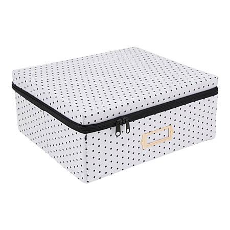 """See Jane Work® Zipper Box, 6""""H x 11""""W x 14""""D, Black Dot"""