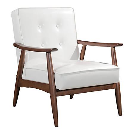 Zuo Modern Rocky Arm Chair, White/Walnut