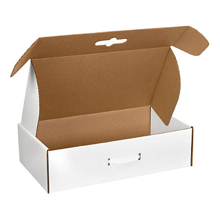 "B O X Packaging Corrugated Carrying Cases, 18 1/4"" x 11 3/8"" x 4 1/2"", White, Pack Of 10"