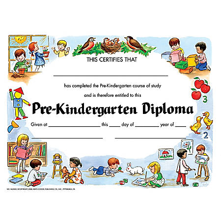 "Hayes Pre-Kindergarten Diplomas, 8 1/2"" x 11"", Multicolor, Pack Of 30 Diplomas"